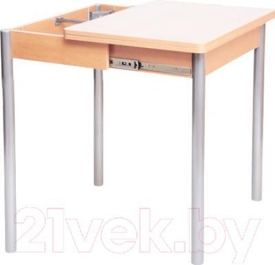 Обеденный стол Древпром Компакт 50х70 (металлик/дуб светлый) - в процессе раскладки