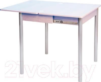 Обеденный стол Древпром Компакт 50x70 (металлик/жемчуг) - в разложенном виде