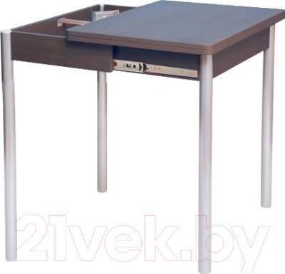 Обеденный стол Древпром Компакт 50х70 (металлик/орех) - в процессе раскладки