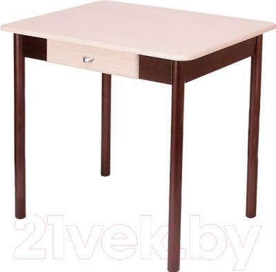 Обеденный стол Древпром С ящиком 80x57.5 (арабискат/дуб бел. гладкий-орех)