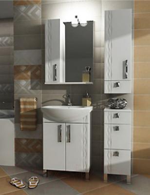 Шкаф с зеркалом для ванной Triton Кристи 55 (левый) - в интерьере
