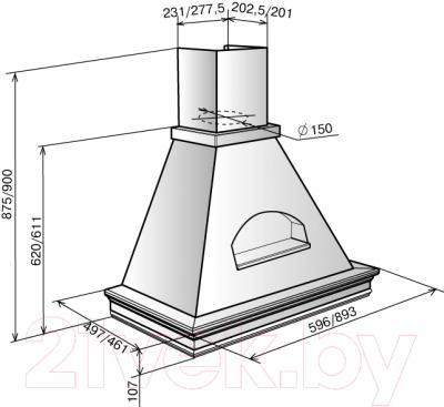 Вытяжка купольная Elikor Бельведер Валенсия 60П-650-П3Г (топленое молоко/дуб неокрашенный)