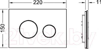 Кнопка для инсталляции TECE Loop 9240650 (белый) - технический чертеж