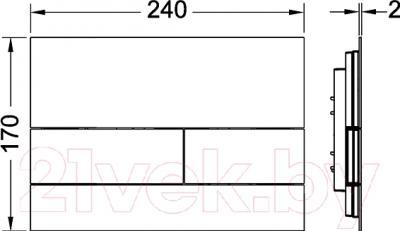 Кнопка для инсталляции TECE Square II 9240831 (глянцевый хром) - технический чертеж