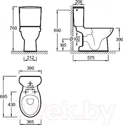Унитаз напольный Jacob Delafon Patio UJD102-00 - технический чертеж