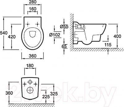 Унитаз подвесной Jacob Delafon Ove E1585-00 - технический чертеж