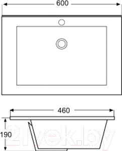 Умывальник накладной Triton Ника 60 825A - схема