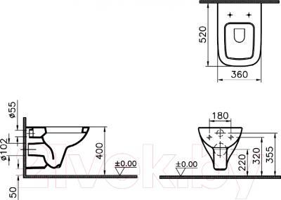 Унитаз подвесной VitrA S20 (5507B003-6066) - технический чертеж