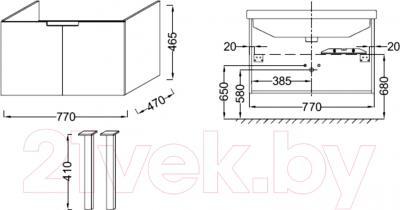 Тумба под умывальник Jacob Delafon Struktura EB1201-N18 - технический чертеж