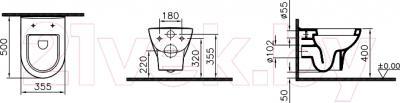 Унитаз подвесной VitrA Zentrum (5785B003-6077) - технический чертеж