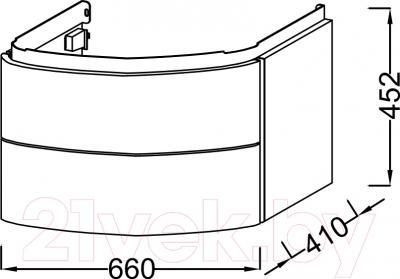 Тумба под умывальник Jacob Delafon Presquile EB1103-HU - технический чертеж