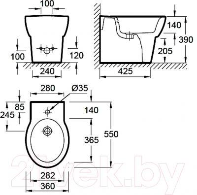 Биде напольное Jacob Delafon Ove E1705-00 - технический чертеж