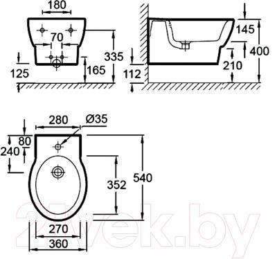 Биде подвесное Jacob Delafon Ove E1586-00 - технический чертеж
