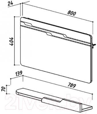 Зеркало для ванной Belux Альба В80 (белый) - размеры