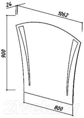Зеркало для ванной Belux Бриз В80 - размеры