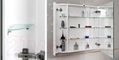 Шкаф с зеркалом для ванной Belux Рото В90 (белый) - внутри полки с подсветкой