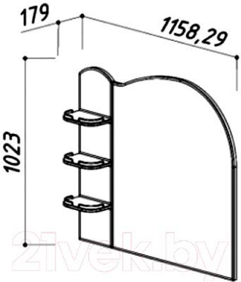 Зеркало для ванной Belux Орсе В110 (белый) - размеры
