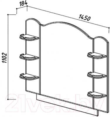 Зеркало для ванной Belux Орсе В140 (белый) - размеры