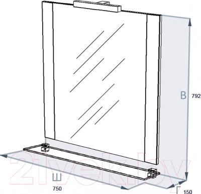 Зеркало для ванной Triton Ника 75 (белый) - технический чертеж
