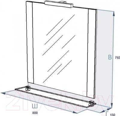 Зеркало для ванной Triton Ника 80 (черный) - технический чертеж