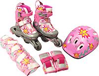 Роликовые коньки Sundays PW-117C-2 (XS, розовый, защита в комплекте) -