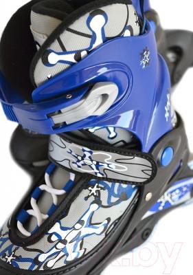 Роликовые коньки Sundays PW-117C-3 (XS, голубой, защита в комплекте)