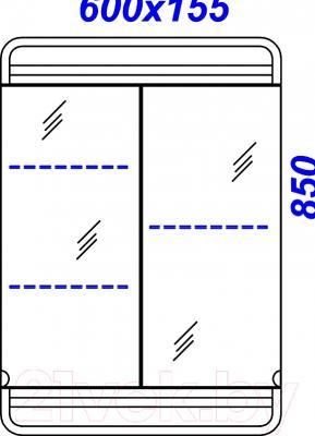 Шкаф с зеркалом для ванной Aqwella Корсика (Kor.04.06) - технический чертеж