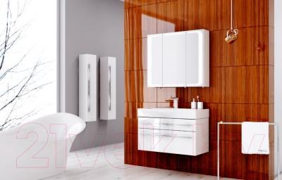 Шкаф с зеркалом для ванной Aqwella Милан Mil.04.08 (белый) - в интерьере