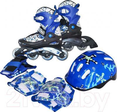 Роликовые коньки Sundays PW-117C-3 (M, голубой, защита в комплекте)