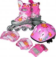 Роликовые коньки Sundays PW-117C-2 (S, розовый, защита в комплекте) -