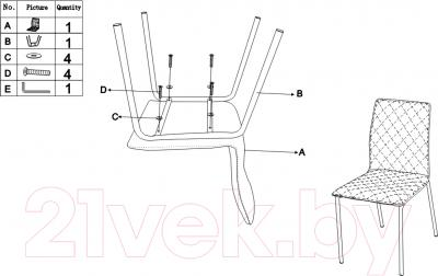 Стул Седия Gustav / Gustov (хром/коричневый) - инструкция по сборке