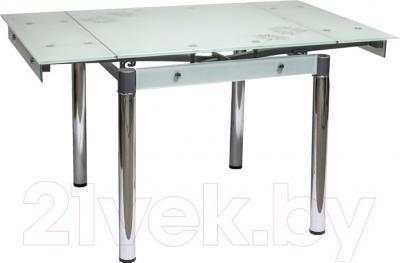 Обеденный стол Седия Karlota 16 (хром/белый с рисунком) - в разложенном виде