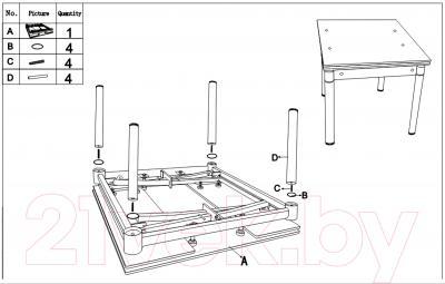 Обеденный стол Седия Karlota 16 (хром/красный) - инструкция по монтажу