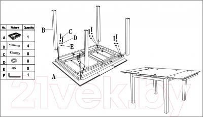 Обеденный стол Седия Karlota 2 (хром/белый с рисунком) - инструкция по монтажу