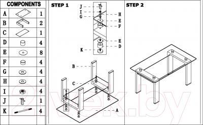 Обеденный стол Седия Romana (белый) - инструкция по монтажу