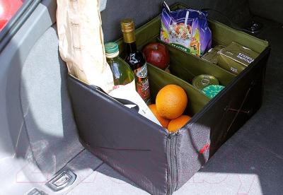 Складной ящик-органайзер ТрендБай Фолдин 1063 (оливковый) - габариты в багажнике