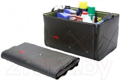 Складной ящик-органайзер ТрендБай Фолдин 1063 (оливковый) - в сложенном и заполненном состоянии