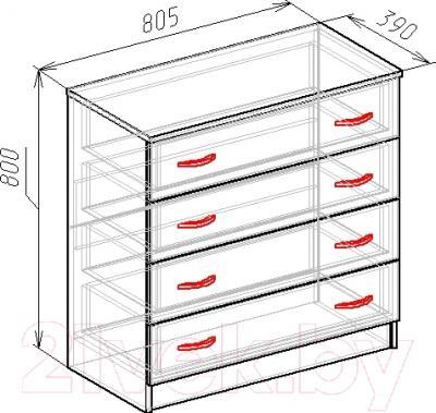 Комод Мебель-Класс Бонн (венге-дуб молочный) - размеры