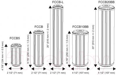Картридж Aquafilter FCCВ (с антрацитным и кокосовым углем) - размеры картриджей