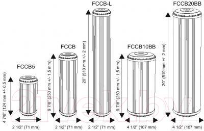 Картридж Aquafilter FCCB20BB (с кокосовым углем) - размеры картриджей