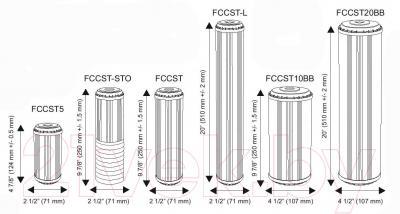 Картридж Aquafilter FCCST10BB (умягчающий) - размеры картриджей