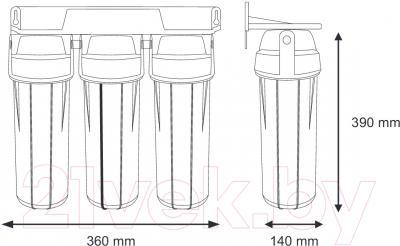 Фильтр питьевой воды Aquafilter FP3-K1 - габариты фильтра и колбы