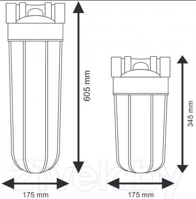 Магистральный фильтр Aquafilter FH10B1-B-WB 10BB - габариты