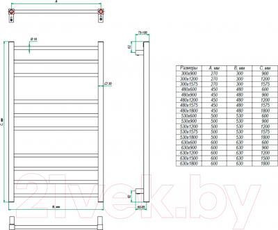 Полотенцесушитель водяной Grota Eco Classic 157.5x48