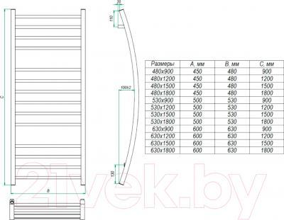 Полотенцесушитель водяной Grota Primo 180x63 - схема