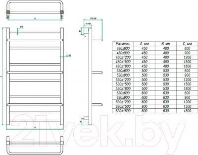 Полотенцесушитель водяной Grota Vista 180x48 - схема