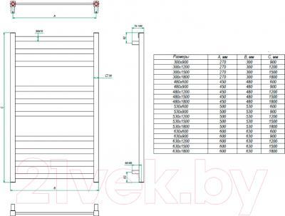 Полотенцесушитель водяной Grota Vento 180x53 - схема