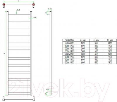 Полотенцесушитель водяной Grota Brezza 180x63 - схема