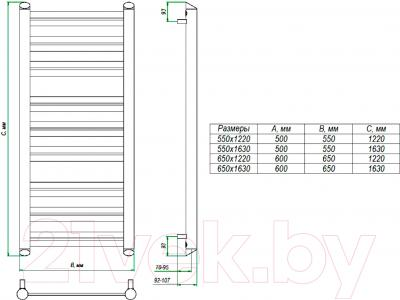 Полотенцесушитель водяной Grota Granito 122x65 - схема