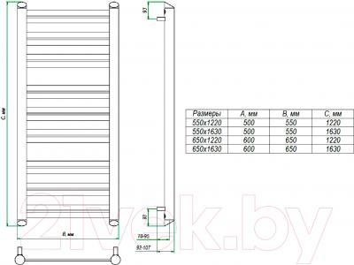 Полотенцесушитель водяной Grota Granito 163x65 - схема